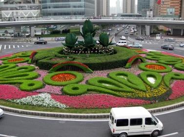 城市中心立体花坛